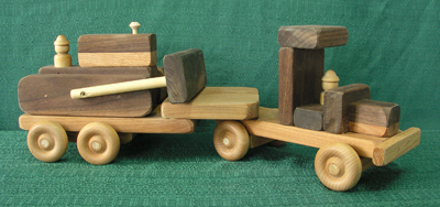 Toy Wood Bulldozer with Truck and Low-Boy Trailer