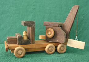 A Handmade Wood Toy Crane Truck from D and ME Toys
