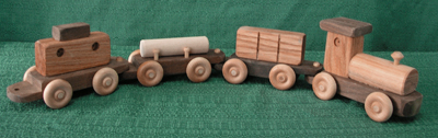 Handmade Wooden Four Piece Train by D and ME