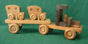 Large Wood Toy Car Carrier and Two Cars D and ME