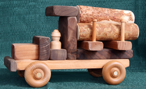 Handmade Wooden Toy Large Logger and Logs D and ME
