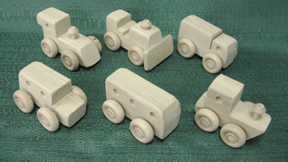 Handmade Wood Toy Mini Car Assortment  D and ME