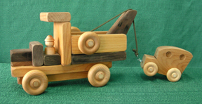Handmade Wood Toy Tow Truck with Car D and ME Toys