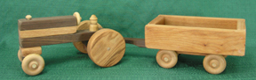 Handmade Wood Toy Farm Tractor and Wagon D and ME